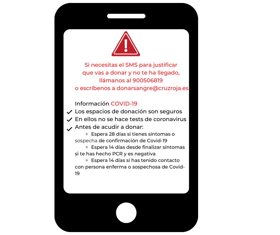 Si necesitas el SMS para justificar que vas a donar y no te ha llegado, llámanos al 900506819 o escríbenos a donarsangre@cruzroja.es (3)